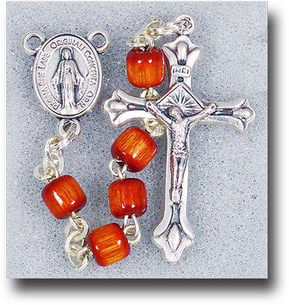 BROWN BARREL SHAPED WOOD BEAD ROSARY