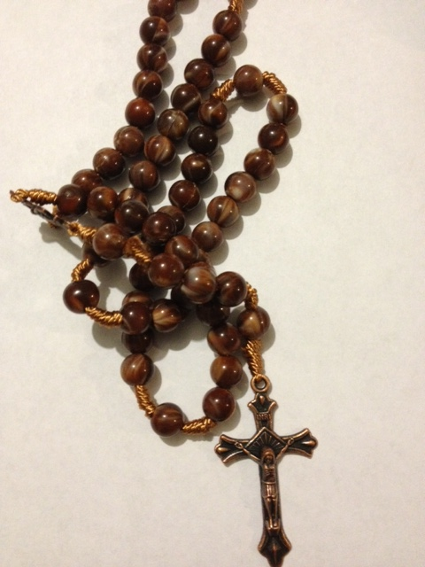 Brown Marbelized Bead Rosary