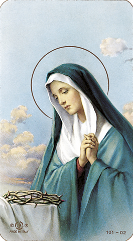 Our Lady of Sorrows, laminated holy card