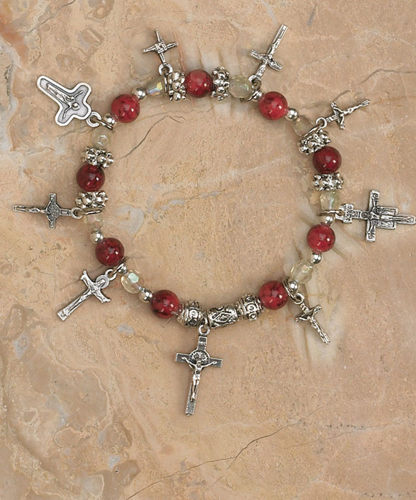 Crucifixes of the world charm bracelet