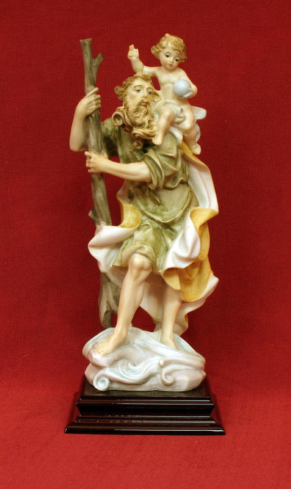 St. Christopher color alabaster statue