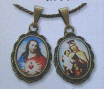 Antiqued Scapular Images pendant