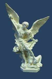 12 inch White Sculpted statue of St. Michael