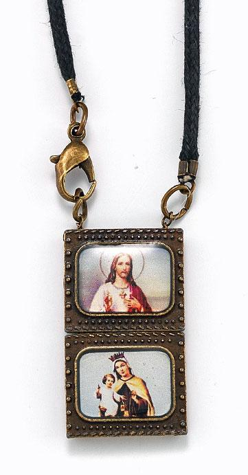 Over Under Bronze Scapular Pendant