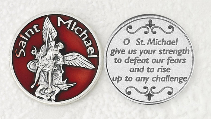 Red Enamel St. Michael pocket coin