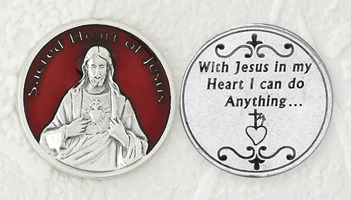 Deluxe Red Sacred Heart of Jesus Enamel Coin