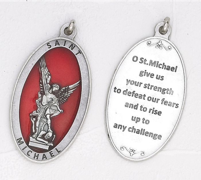 Large Silver tone and Red Enamel Michael Medal