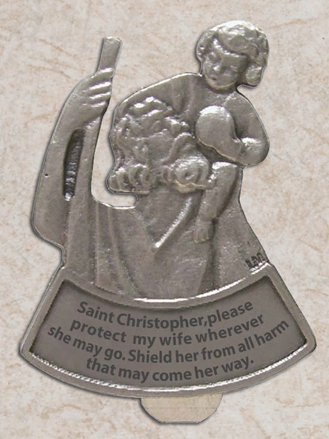 Protect My Wife St. Christopher car visor