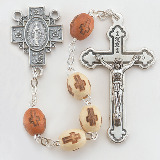 Beige Cross Stamped Wood Bead Rosary