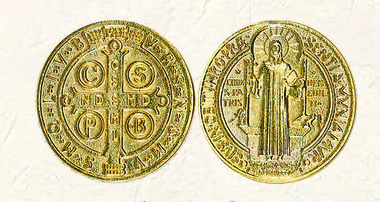 Gold Tone St. Benedict Pocket Coin