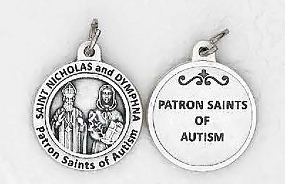 St. Dymnphna and Nicholas for Autism round medals