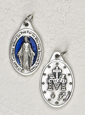 Blue Enamel with Silver Inlay Miraculous Medals