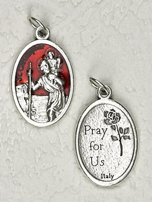 Red Enamel Inlay St. Christopher Medal