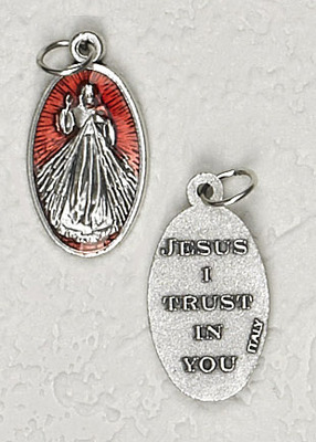 Red Enamel Inlay Divine Mercy Medal