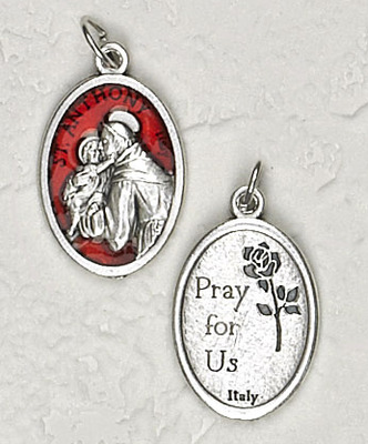 Red Enamel Inlay St. Anthony Medal