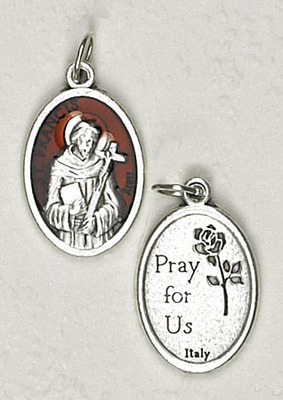 Brown Enamel Inlay Silver Tone St Francis Medal