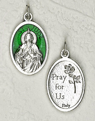 Green Enamel Inlay St. Jude Medal