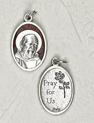 Brown Enamel Inlay Silver Tone St. Padre Pio Medal