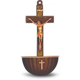 Brown Crucifix holy water font