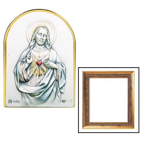 Sacred Heart of Jesus Sterling Silver Framed Image