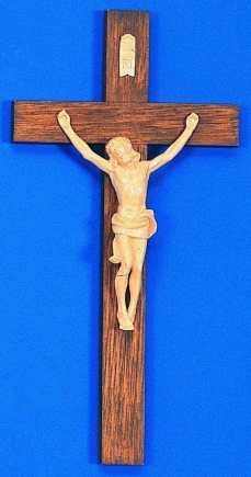 Molded Wood Grain crucifix