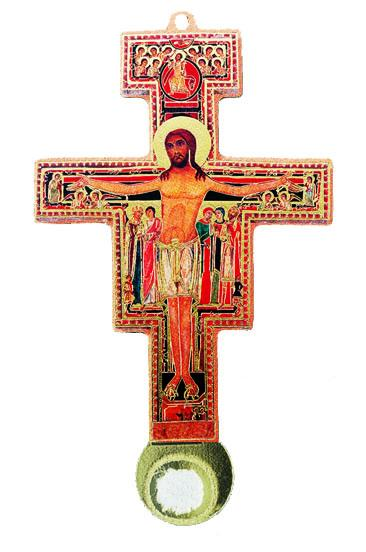 St. Damiano Full color Relic Crucifix