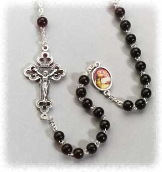 Kant Tangle Brown Wood Bead Rosary