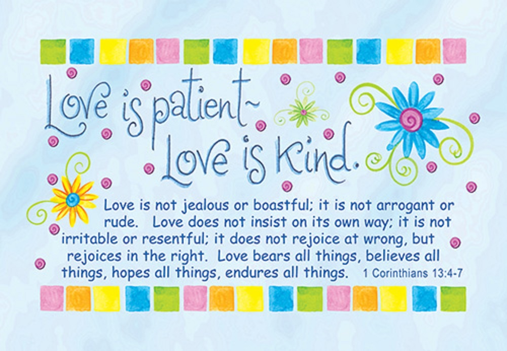 Pass it on - Love is patient Bible verse card