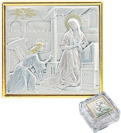 Annunciation sterling silver rosary box