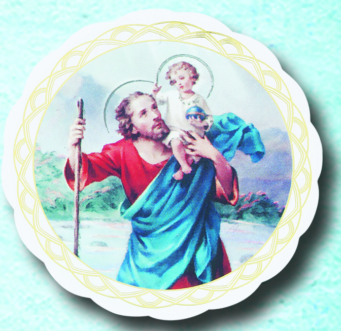 St. Christopher car window cling