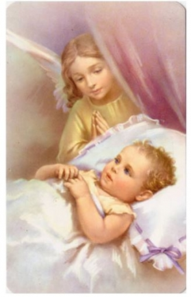 Guardian Angel at Bedside of baby paper holy card