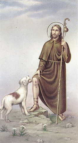 St. Roch (St. Rocco), laminated holy card