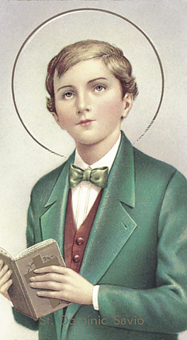 St. Dominic Savio laminated holy card