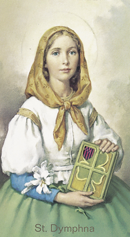 Value Priced St. Dymphna blank back holy card