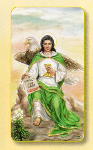 St. John the Evangelist, laminated holy card