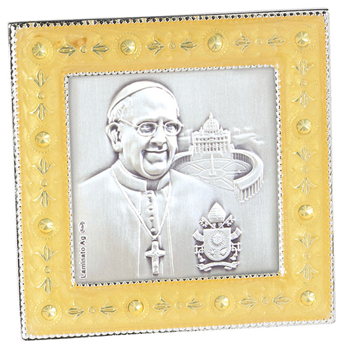 Pope Francis sterling with enamel and crystals framed image