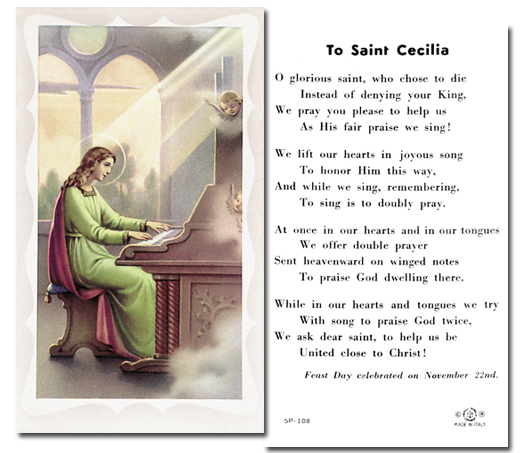 St. Cecelia paper holy card