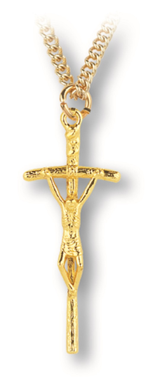 Gold tone Papal Crucifix on chain in gift box