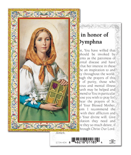 Paper Holy Card, St. Dymphna (mental illness)