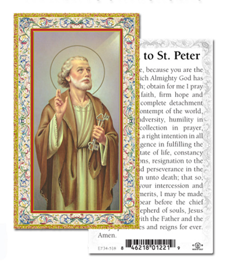100 Pack Paper St. Peter Holy Cards with Decorative Gold Highlights
