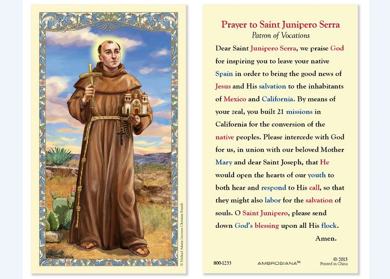 St. Junipero of Serra Value Laminated Holy card