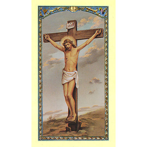 The Five Wounds of Christ Holy Card with Crucifixion