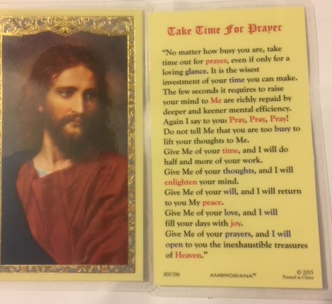Value Priced Take Time for Payer Laminated Holy Card