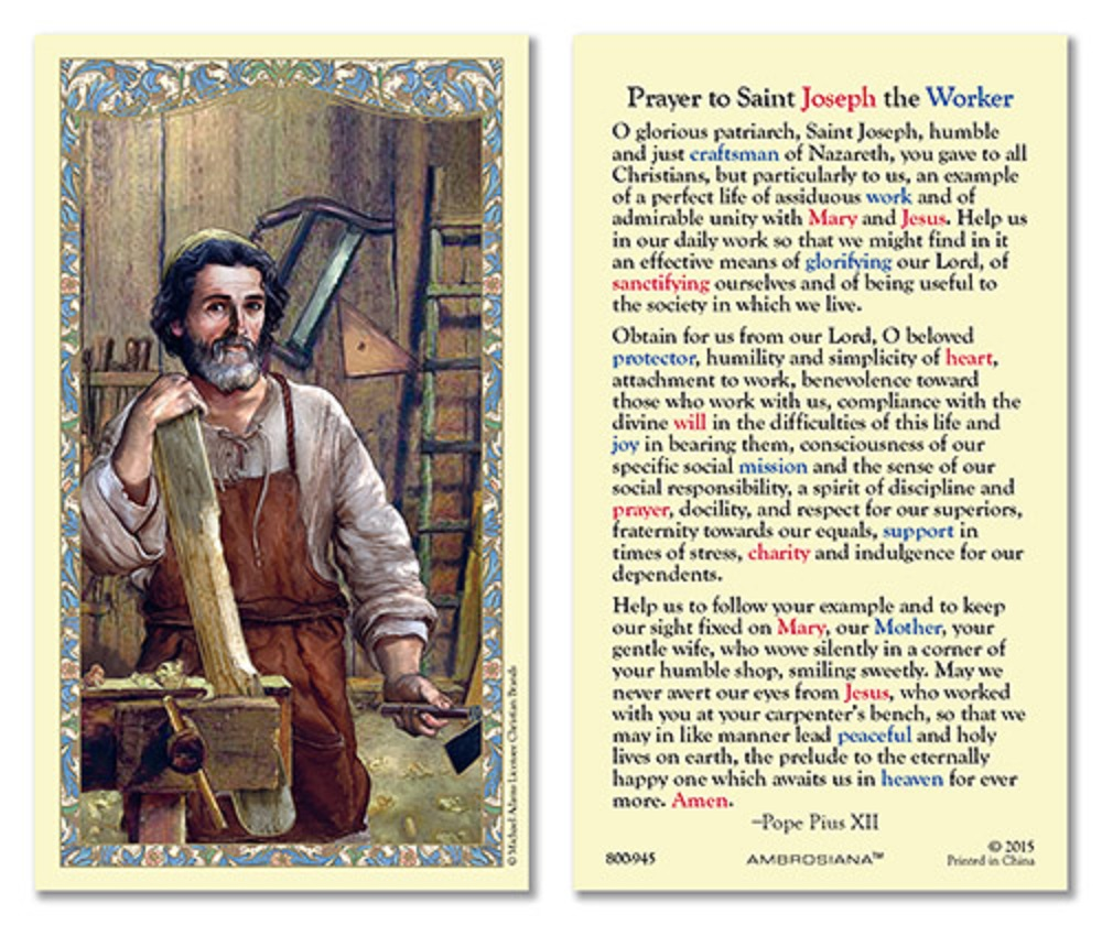 St. Joseph Holy card for Unemployment