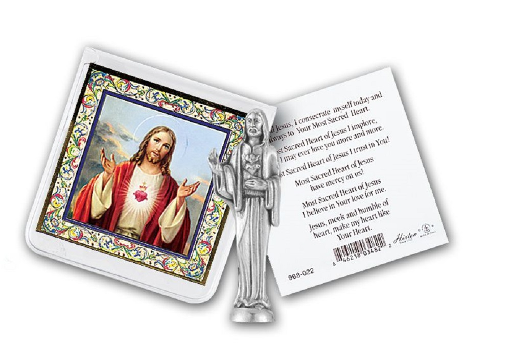 Sacred Heart of Jesus Pocket Statue in case
