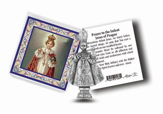 Infant of Prague Pocket Statue in Case with card