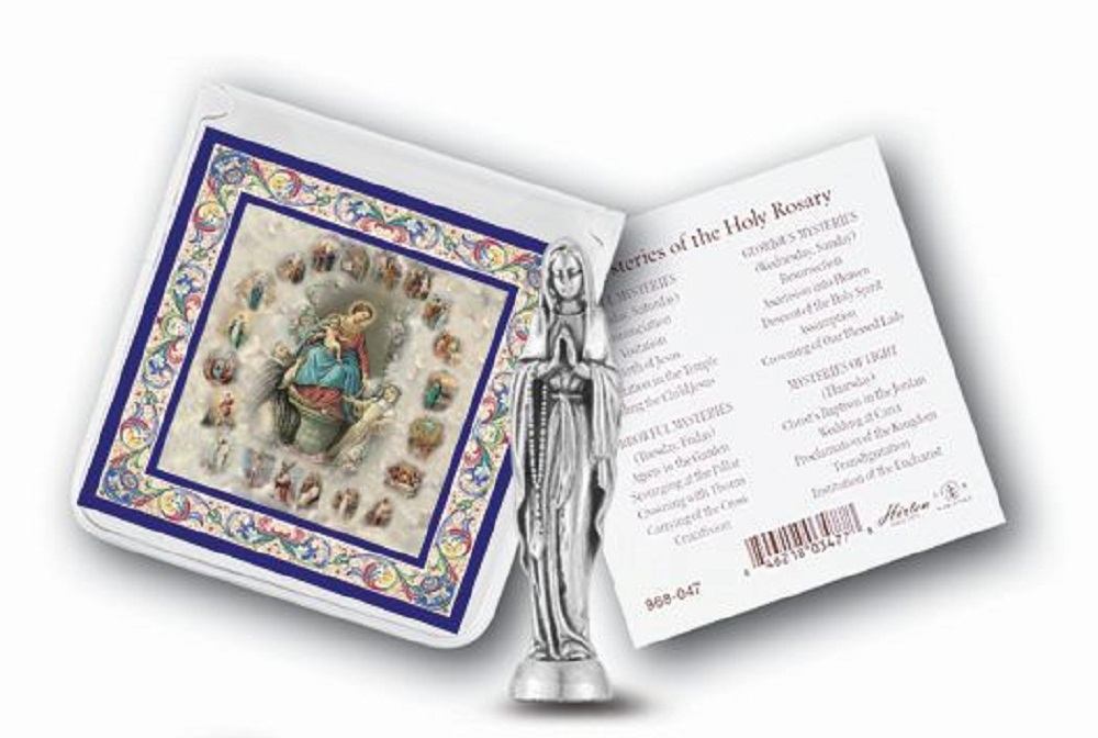 Our Lady of the Rosary pocket statue in case