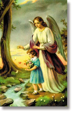 Guardian Angel Girl Wallet Sized Holy Card