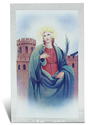 St Barbara Glass Votive Holder