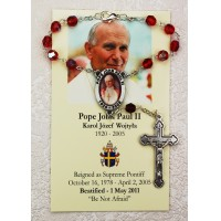 Pope John Paul II Red Auto Rosary with memorial card